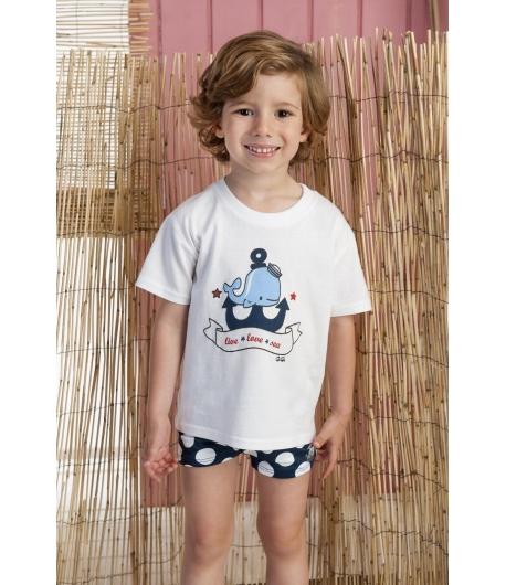 ede6ab5f9 Conjunto camiseta y boxer ballena José Varon - Mipetitmon