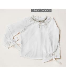 Blusa crudo con detalle lazo terciopelo en cuello Cesar Blanco