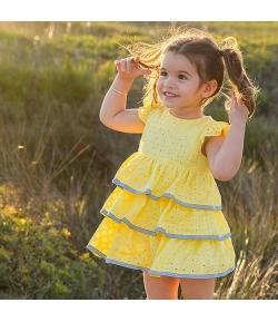 Vestido volantes amarillo Rochy