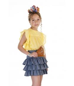 Conjunto blusa plumeti amarilla  y falda volantes denim José Varón