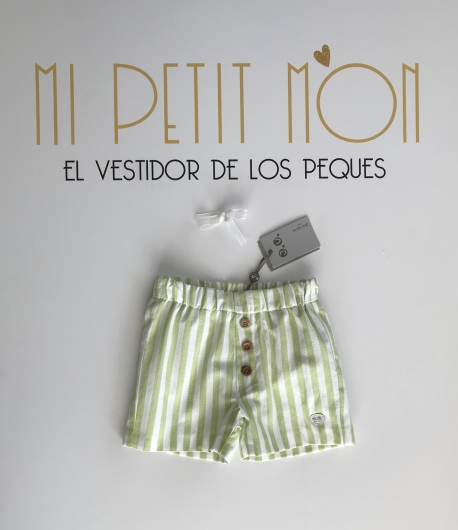 Pantalón corto rayas verde pistacho José Varón