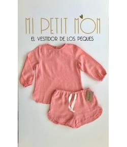 Conjunto blusa y short Coral Mia y Lia