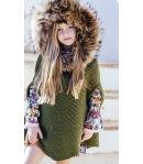 Capa  verde oro lurex con capucha pelo marmota Bella Bimba