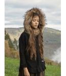 Jersey poncho negro lurex con capucha pelo marmota Bella Bimba