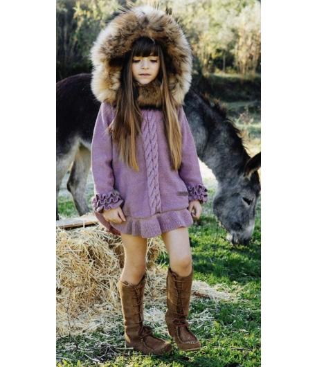 Jersey poncho malva oro lurex con capucha pelo marmota Bella Bimba