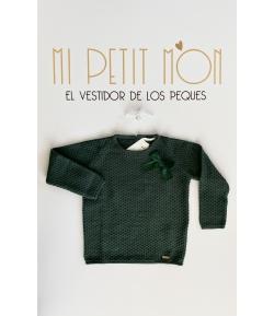 Conjunto jersey verde detalles lazos  y bluson Cesar Blanco
