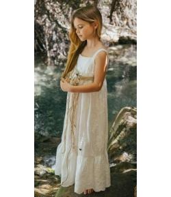 Vestido Alma plumeti bordado largo Bella Bimba & Bamboline