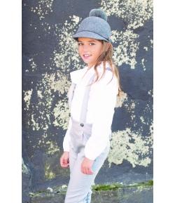 Conjunto blusa blanca + pantalon peto Vapor Grey Eve Children