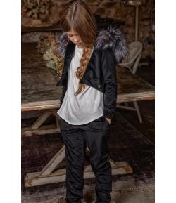 Chaqueta velvet asimétrica capucha pelo marmota Tinsel Bella Bimba