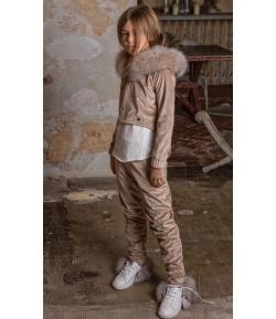 Pantalón jogger velvet beige Tinsel Bella Bimba