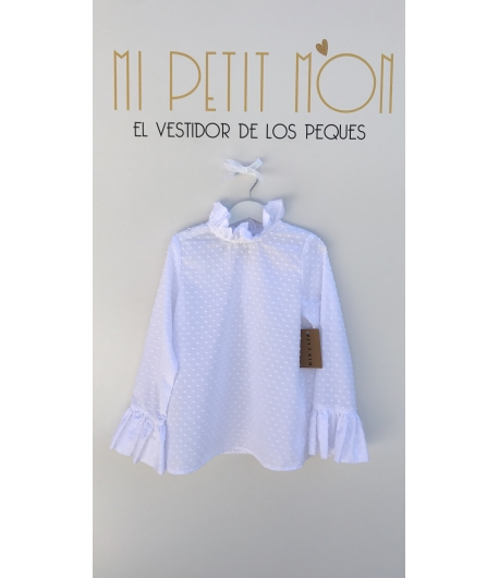 Blusa Plumeti blanco cuello fruncido Mia y Lia