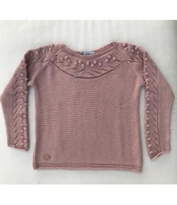 Jersey borlas y trenzas rosa Nueces