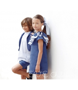 Vestido azul escote asimetrico Palermo Eve Children
